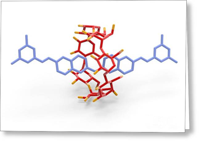 Mechanically Greeting Cards - Rotaxane, Molecular Crystal Structure Greeting Card by Alfred Pasieka