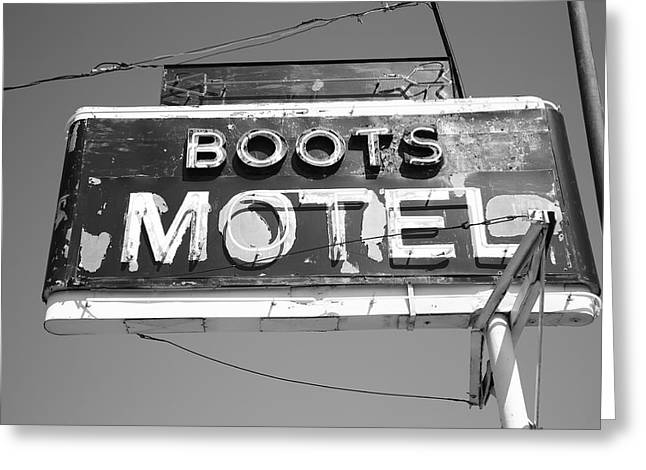 Black Boots Photographs Greeting Cards - Route 66 - Boots Motel Greeting Card by Frank Romeo