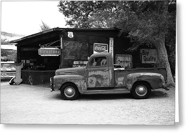 Coca-cola Mural Greeting Cards - Route 66 Garage and Pickup Greeting Card by Frank Romeo