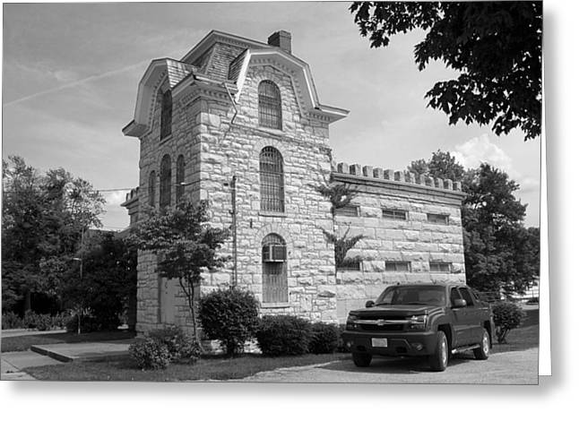 Police Art Greeting Cards - Route 66 - Macoupin County Jail Greeting Card by Frank Romeo