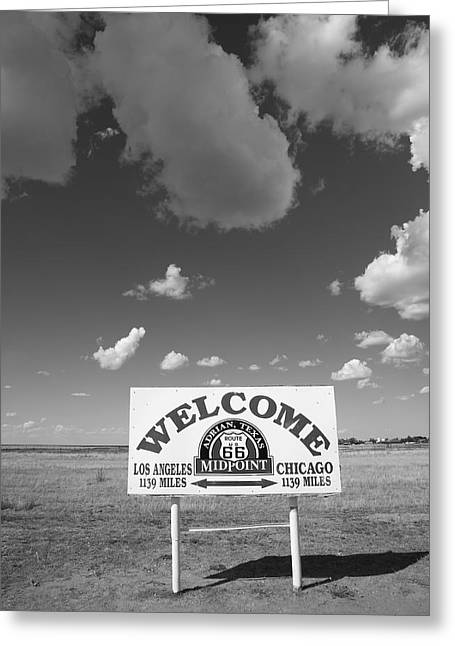 66 Greeting Cards - Route 66 - Midpoint Sign Greeting Card by Frank Romeo