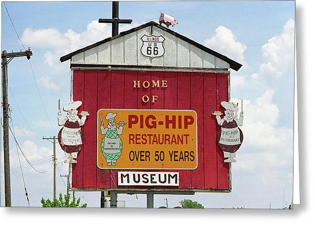 Best Sellers -  - Historic Country Store Greeting Cards - Route 66 - Pig-Hip Restaurant Greeting Card by Frank Romeo