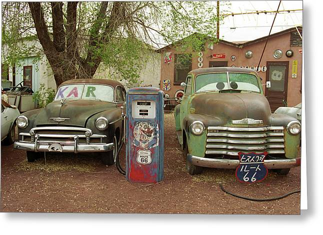 Framed Auto Art Greeting Cards - Route 66 - Snow Cap Drive-In Greeting Card by Frank Romeo
