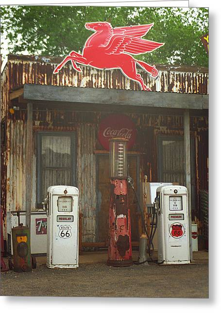 Coca-cola Mural Greeting Cards - Route 66 Vintage Pumps Greeting Card by Frank Romeo