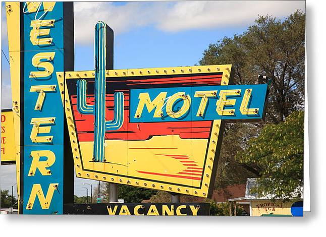 Route 66 Motel Sign Greeting Cards - Route 66 - Western Motel Greeting Card by Frank Romeo