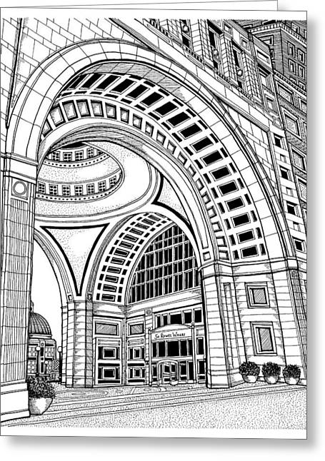Conor Drawings Greeting Cards - Rowes Wharf Greeting Card by Conor Plunkett
