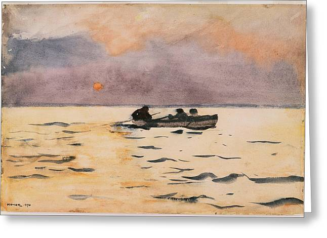 Rowing Greeting Cards - Rowing Home Greeting Card by Winslow Homer