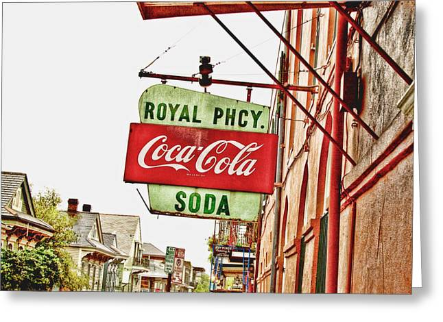 Coca-cola Mural Greeting Cards - Royal Pharmacy Soda Sign Greeting Card by Scott Pellegrin