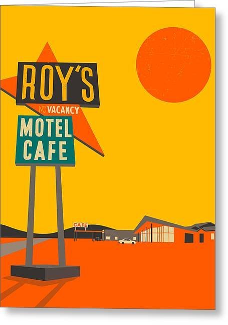 Route 66 Greeting Cards - Roys Cafe Greeting Card by Jazzberry Blue