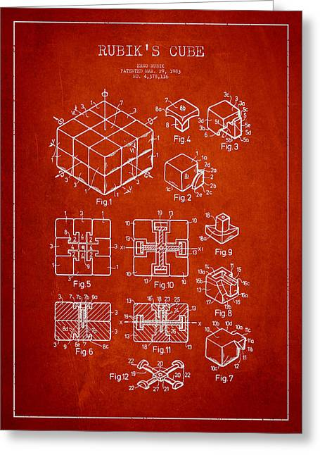 Technical Digital Art Greeting Cards - Rubiks Cube Patent Greeting Card by Aged Pixel