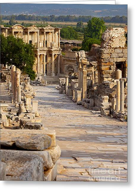 Marble Stone Greeting Cards - Ruins of Ephesus Greeting Card by Brian Jannsen