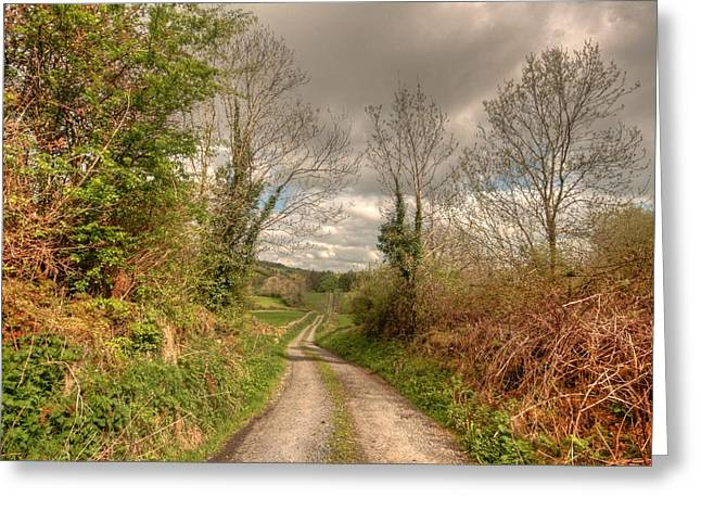 Irish Farm Greeting Cards - Rural Irish Road Greeting Card by John Quinn