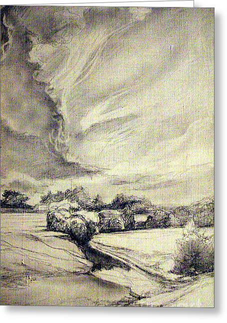 White River Scene Drawings Greeting Cards - Rural landscape Greeting Card by Mikhail Savchenko