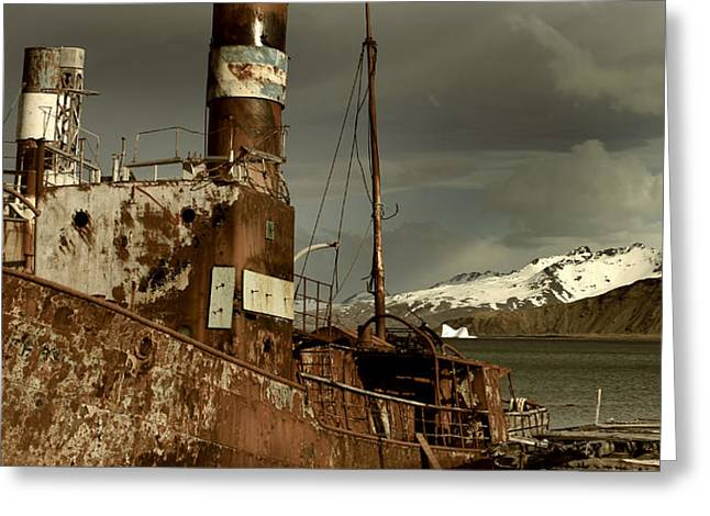 Ship In Sepia Greeting Cards - Rusted Whaling Boats Greeting Card by Amanda Stadther
