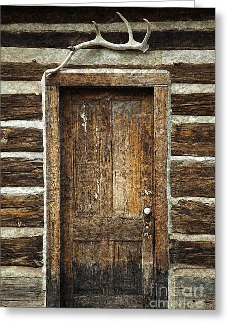 Hunting Cabin Greeting Cards - Rustic Cabin Door Greeting Card by John Stephens