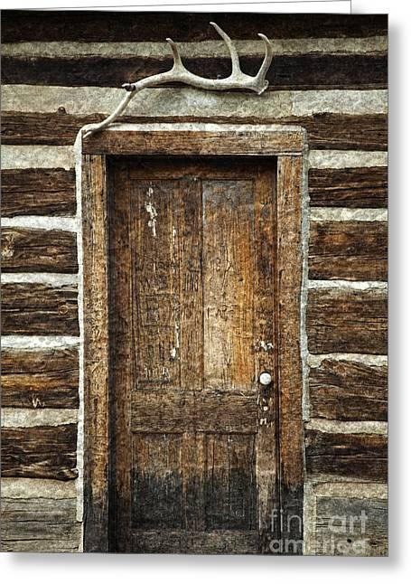 Rustic Cabin Door Greeting Card by John Stephens