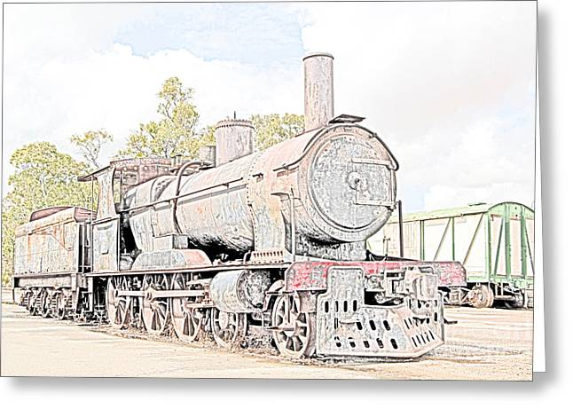 Railyard Greeting Cards - Rusting Steam Train Greeting Card by John Wallace