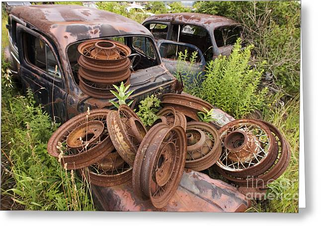 Car Part Mixed Media Greeting Cards - Rusty Wheels Greeting Card by Dt