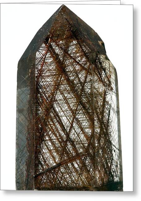 Titanium White Greeting Cards - Rutilated quartz Greeting Card by Science Photo Library