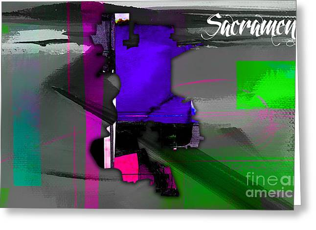 Cities Greeting Cards - Sacramento Map Watercolor Greeting Card by Marvin Blaine