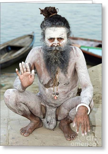 The Ganges Greeting Cards - Sadhu Holy Man In India Greeting Card by Tony Camacho