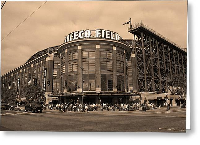 Edgar Home Greeting Cards - Safeco Field - Seattle Mariners Greeting Card by Frank Romeo