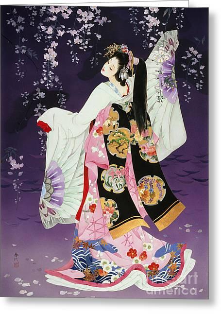 Haruyo Morita Greeting Cards - Sagi no mai Greeting Card by Haruyo Morita