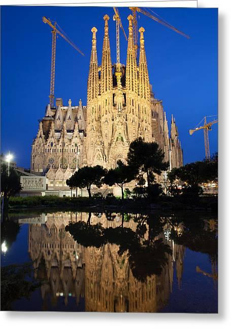 Sagrada Greeting Cards - Sagrada Familia in Barcelona at Night Greeting Card by Artur Bogacki