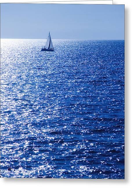 Masts Greeting Cards - Sailboat Greeting Card by Modern Art Prints
