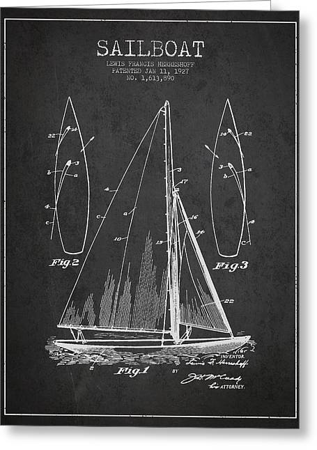 Sailboat Art Greeting Cards - Sailboat Patent Drawing From 1927 Greeting Card by Aged Pixel