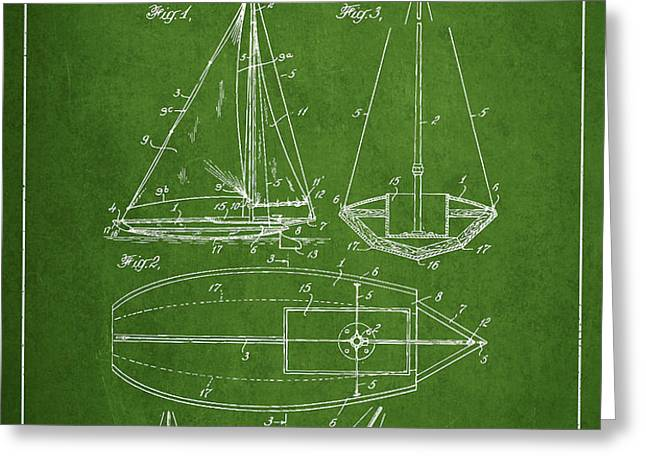 Sailboat Patent Drawing From 1948 Greeting Card by Aged Pixel
