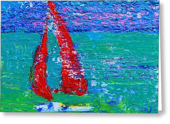 Sailboats In Water Greeting Cards - Sailboat  Greeting Card by Patricia Awapara