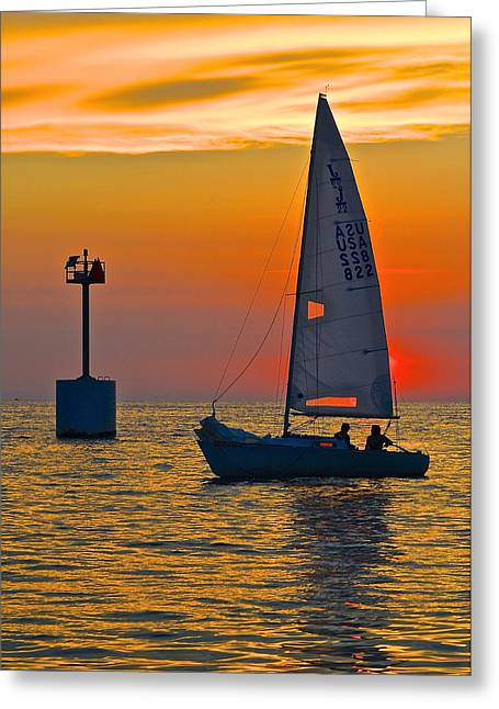 Yellow Sailboats Greeting Cards - Sailboat Sunset Greeting Card by Frozen in Time Fine Art Photography