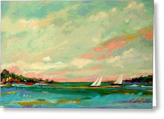 Sailboat Art Greeting Cards - 2 Sailboats on the Bay Greeting Card by Karen Fields
