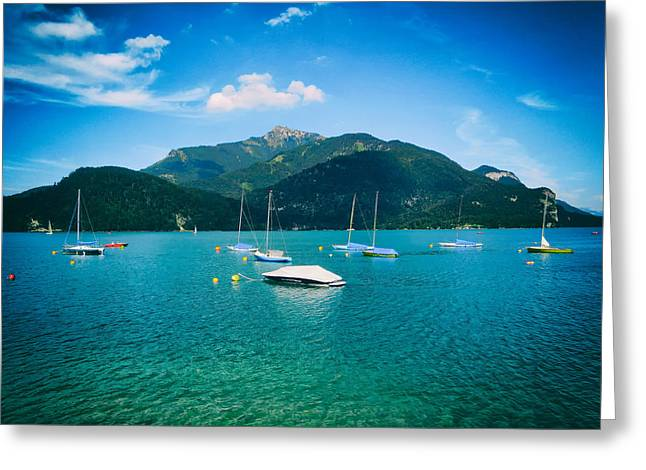 Sailboat Photos Greeting Cards - Sailing on Mondsee Lake - Austria Greeting Card by Mountain Dreams