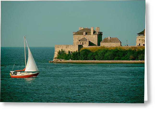 Sailboat Photos Greeting Cards - Sailing Past Fort Niagara on Lake Ontario Greeting Card by Mountain Dreams