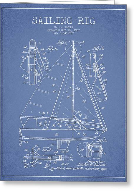Sailboat Art Greeting Cards - Sailing Rig Patent Drawing From 1967 Greeting Card by Aged Pixel