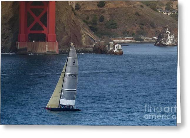 Sausalito Greeting Cards - Sailing San Francisco Greeting Card by Scott Cameron