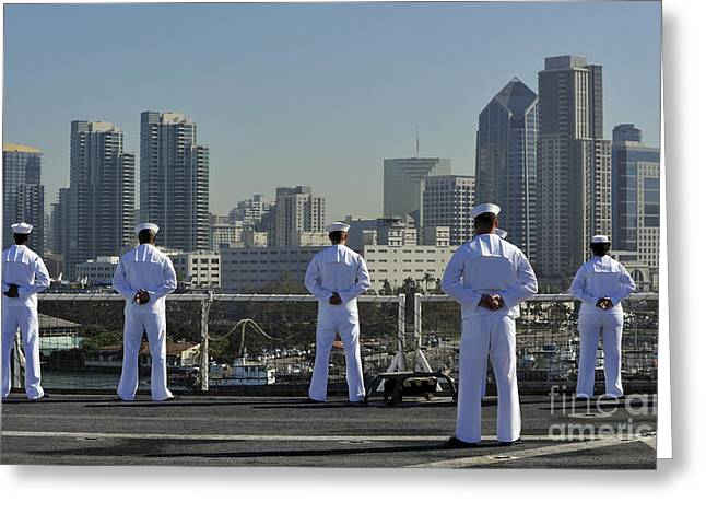 Arms Behind Back Greeting Cards - Sailors Man The Rails Aboard Greeting Card by Stocktrek Images