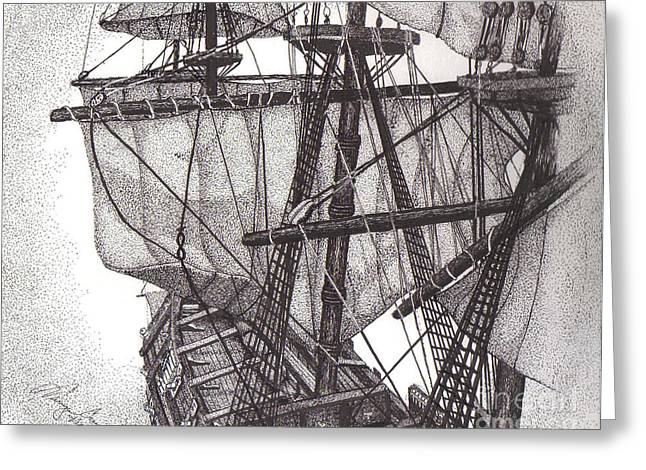 Tall Ships Drawings Greeting Cards - Sails and Rigging Greeting Card by Tanya Crum