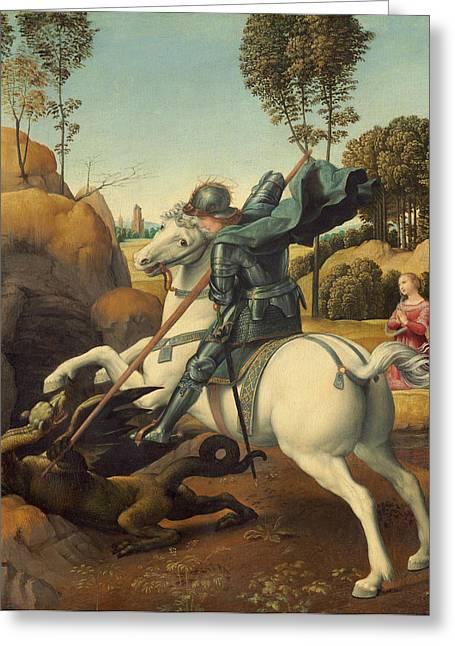 Recently Sold -  - Knights Castle Greeting Cards - Saint George and the Dragon Greeting Card by Raphael