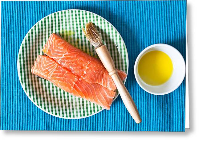 Fresh Green Greeting Cards - Salmon fillets Greeting Card by Tom Gowanlock