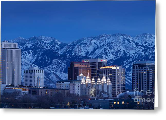 Snowy Night Night Greeting Cards - Salt Lake City Greeting Card by Brian Jannsen