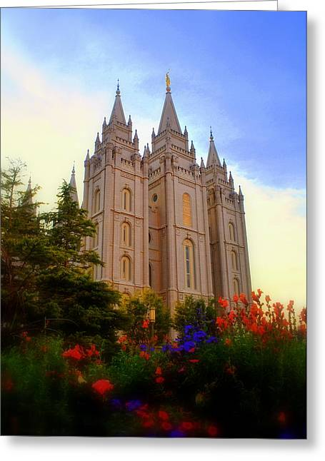 Salt Lake City Temple Greeting Cards - Salt Lake City LDS Temple Greeting Card by Nathan Abbott