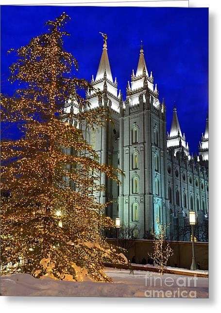 Night Angel Greeting Cards - Salt Lake City Temple Square Christmas Lights  Greeting Card by Lane Erickson