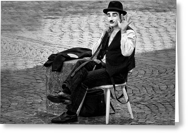 Black Tie Greeting Cards - #2 Salut - French Mime Greeting Card by Nikolyn McDonald
