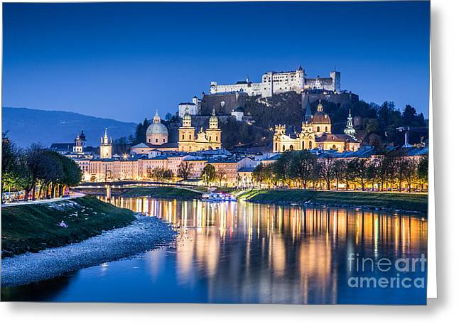 Salzburg Greeting Cards - Salzburg Blue Hour Greeting Card by JR Photography