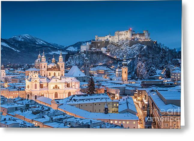 Advent Greeting Cards - Salzburg Winter Romance Greeting Card by JR Photography