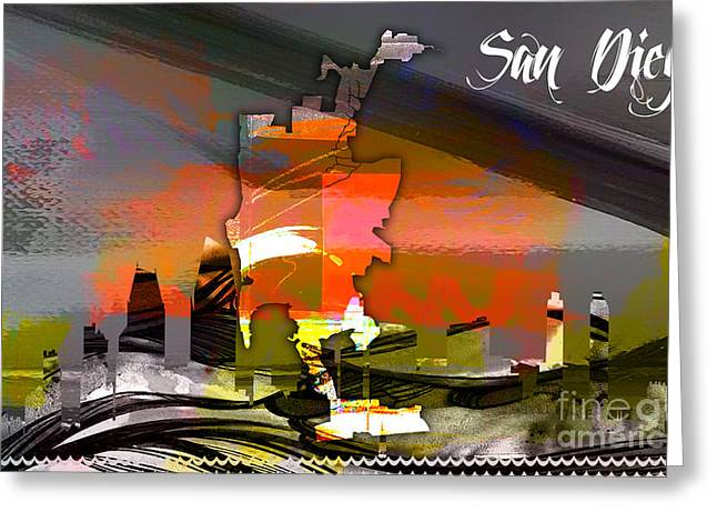 California Map Greeting Cards - San Diego California Map and Skyline Greeting Card by Marvin Blaine