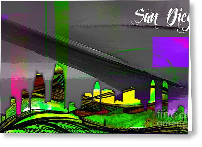 California Map Greeting Cards - San Diego California Skyline Watercolor Greeting Card by Marvin Blaine